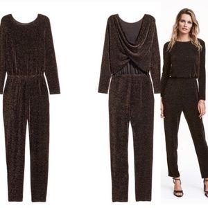 H&M Black and Gold Shimmer Jumpsuit